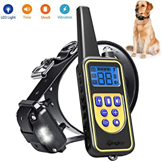 igingko Dog Training Collar with Remote 2600ft, IPX7 Waterproof Rechargeable Shock Collar for Small, Medium, Large Dogs - Built-in 4 Modes, LED Light, Beep, Vibration, Shock