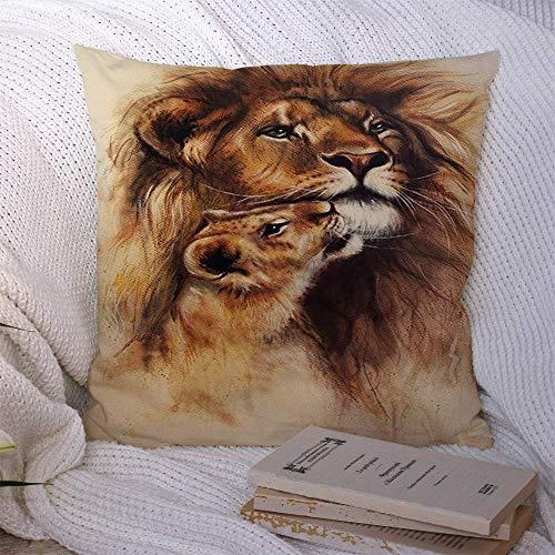 Throw Pillow Covers Loving multicolor Expression Lion Her Baby Cub Animals Leona en original Duo Wildlife Feline Fundas de almohada Funda de cojín 45 X 45CM