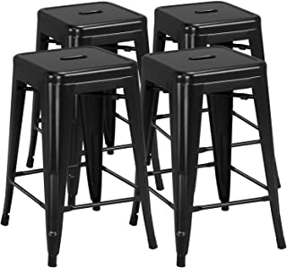 Yaheetech 24inch Metal Bar stools Set of 4 Counter Height Kitchen Barstools Modern Industrial Backless Stackable Metal Cha...