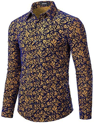 JOGAL Herren-Hemd, Blumenmuster, Vintage, Samt, schmale Passform, langärmelig, lässig - Braun - X-Groß