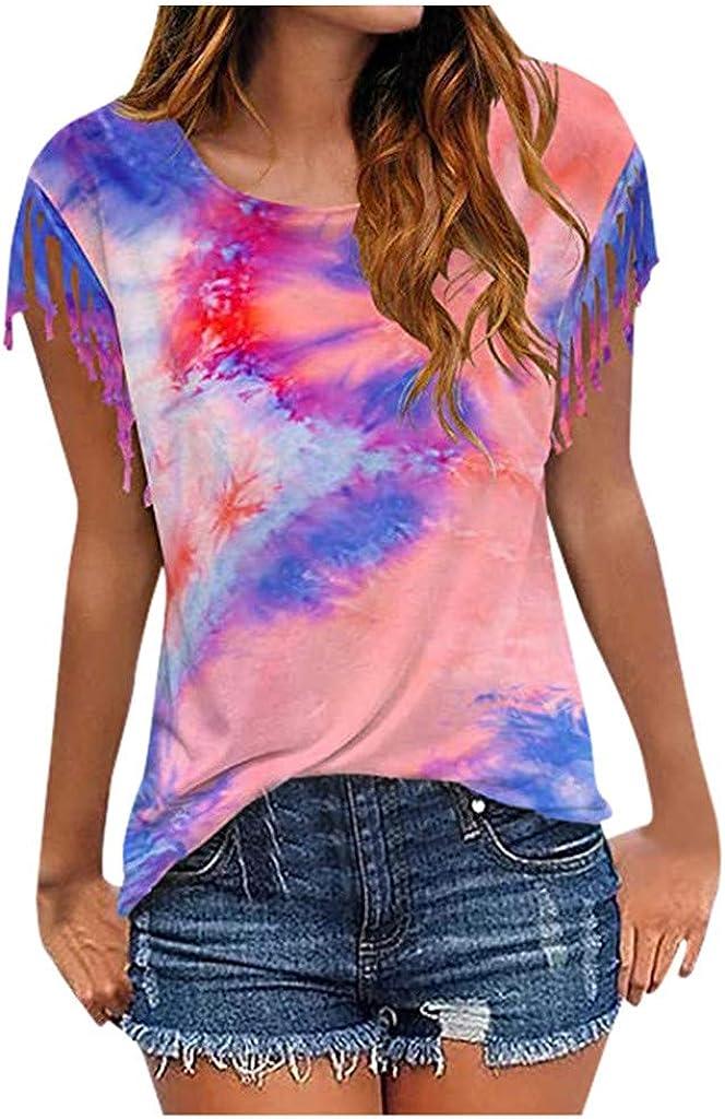 Womens Short Sleeve Tops,Tie-dye O Neck Tassel Short Sleeve T Shirts Blouses Tunic Short Sleeve Casual Tops Summer