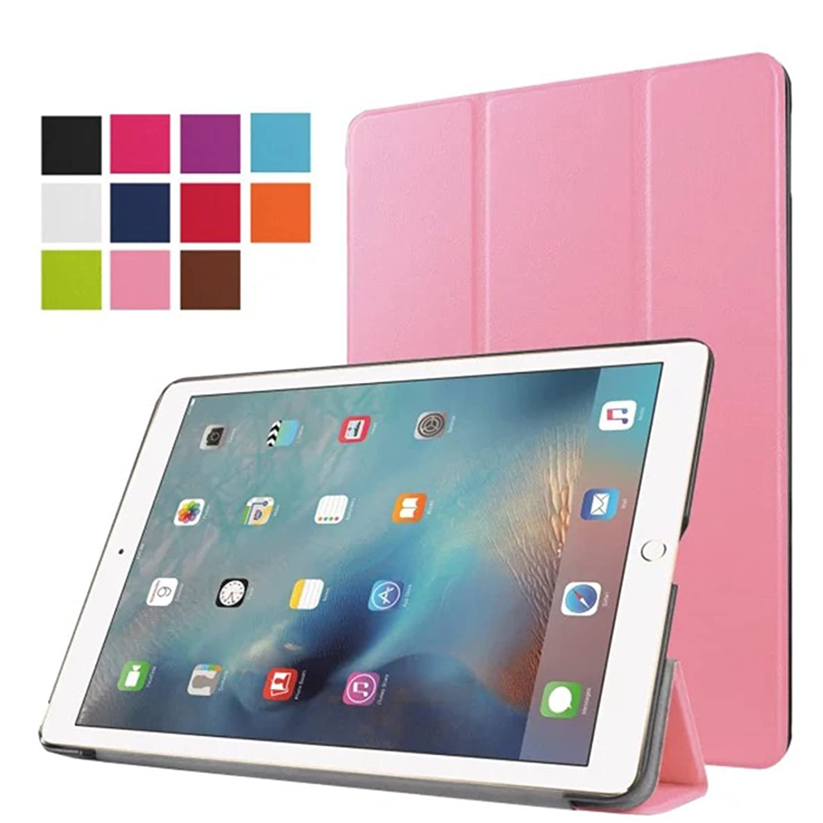 ZAOX New iPad 9.7 Inch Case Protector Slim Lightweight Smart Shell with Auto Wake/Sleep Premium Leather Folio Stand Cover Case for Apple iPad 9.7 inch/iPad Air 2 (pink)