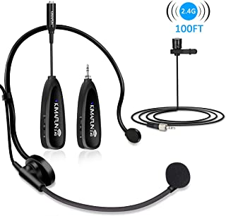 Wireless Microphone Set, KIMAFUN 2.4G Wireless Headset Microphone and Lavalier Lapel Mics, Beltpack Transmitter and Receiver for Live Performance, Compatible with Smartphone, Laptop, Speaker, G102-3