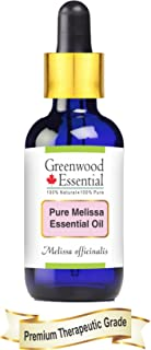 Greenwood Essential Pure Melissa Essential Oil (Melissa officinalis) with Glass Dropper 100% Natural Therapeutic Grade Steam Distilled 30ml (1.01 oz)