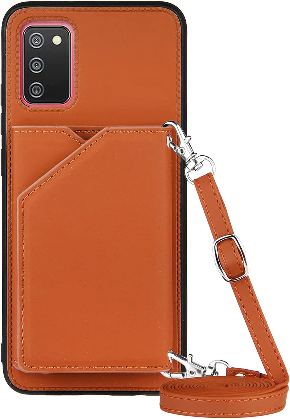 Galaxy A02S Wallet Case for Samsung A02S Lanyard Case, Shockproof Stand Bumper Cover Cross-Body Girly Case(US Version) (Brown)