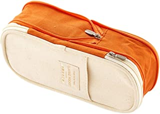 Large Capacity Pencil Case for Boys and Girls Pencil Case Macaron Color Canvas Stretch Double Layer Large Capacity Pencil Box Pencilcase Kids School Stationery (Color : Orange)