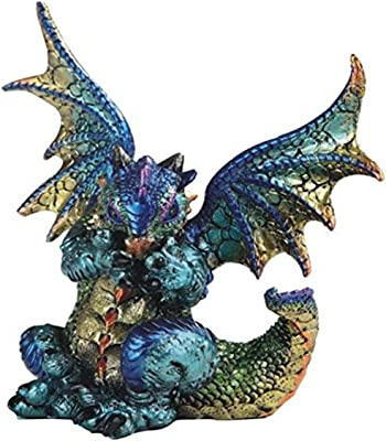 "Major-Q G8071764 6"" Blue and Gold Colored Dragon Sitting Down with Open Wings Statue Figurine Home Decor Sculptures Polyresin"