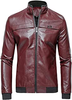 Men's Fauxs Leather Coats,Men's Vintage Zip Up Stand Collar PU Leather Jacket Coat