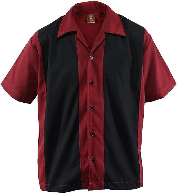 Camisa de bolos para hombre, estilo años 50, estilo rockabilly