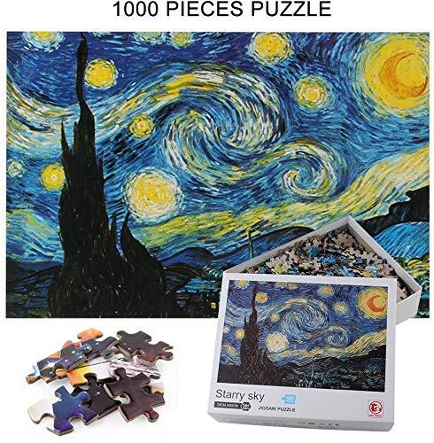 Hizoop Puzzle 1000 Pezzi,Van Gogh Puzzle,Cielo Stellato Puzzle,Notturno Stellato Cielo Stellato Stelle Paesaggi Puzzle di Carta per Bambini Adulti Adolescent