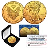 2019 1 Oz 999 Fine Silver American Eagle $1 Coin 24K Gold Gilded with BOX & CERT