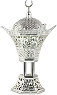 AM Bakhoor Charcoal Incense Burner - Oud Frankincense Resin Burner 10.5 Inches Tall - for Bakhoor Oud Incense Sticks Cones - Luxury Filigree, Silver