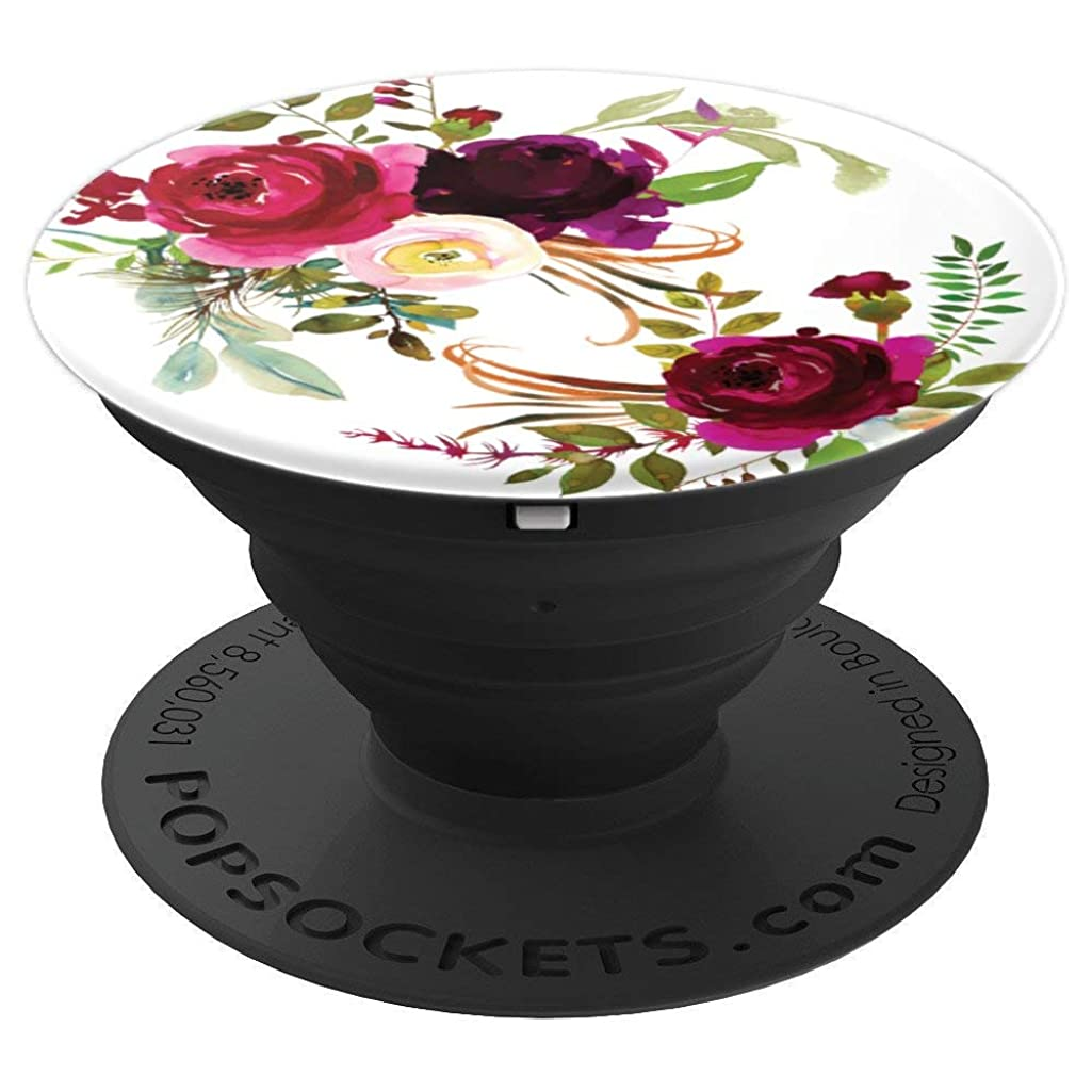 Floral Marsala Burgundy Flower Pattern - PopSockets Grip and Stand for Phones and Tablets