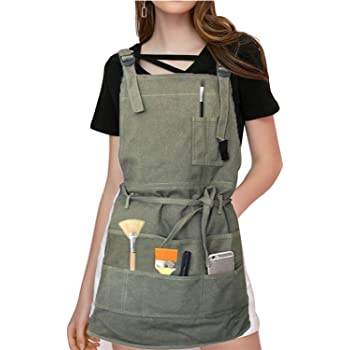 Adjustable Artist Apron with Pockets Unisex Painter Canvas Apron Painting Aprons for Arts Gardening Utility or Work