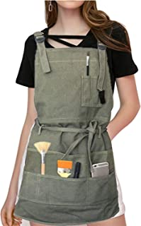 Adjustable Artist Apron with Pockets for Women Men Unisex Adults Painter Canvas Painting Aprons for Arts Gardening Utility or Work