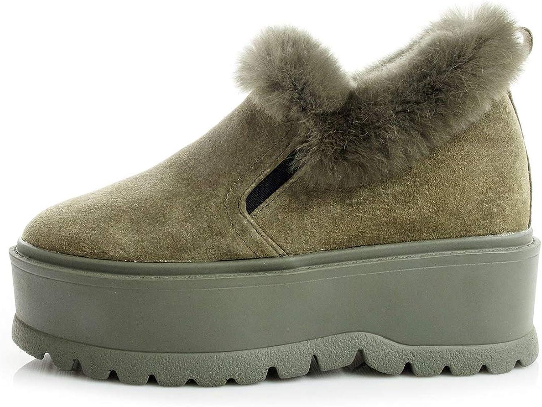T-JULY Female Winter Genuine Leather Warm Sneakers Women Fur Hide Wedge Casual Platform Winter Sneaker