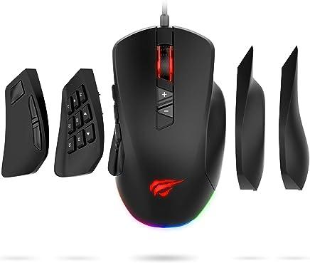 HAVIT RGB Gaming Maus 【12000DPI und 14 programmierbare Tasten】, Vier austauschbare Seitenteile für MOBA/MMO, ergonomisches Design, schwarz (MS760)