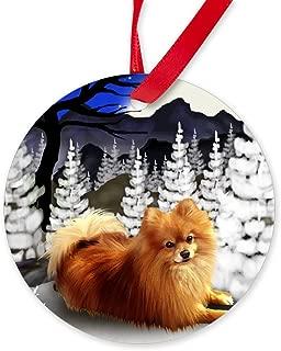 CafePress Pomeranian Dog Winter Ornament (Round) Round Christmas Ornament