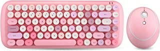 Keyboard Mouse Set, Wireless Keyboard Mouse Set Mini Pink Mixed Colors Round Keycap, för Windows XP / win7 / win8 / win10