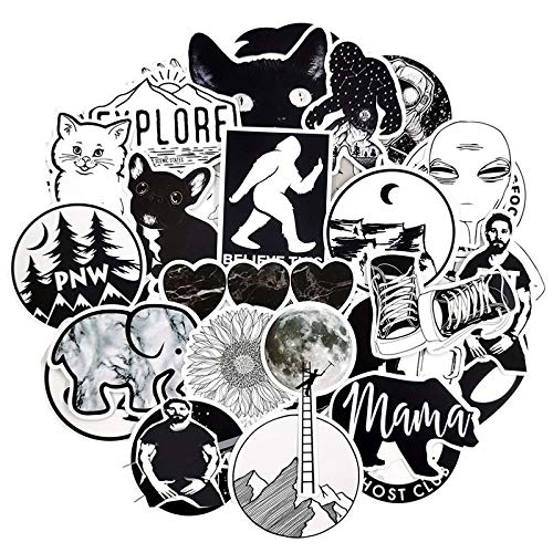 /Set Rock Negro Blanco Vsco Chica Pegatinas Viajes Fresco Retro Guitarra Monopatín Maleta Diy Tv Coche Impermeable Calcomanías /50 Unids