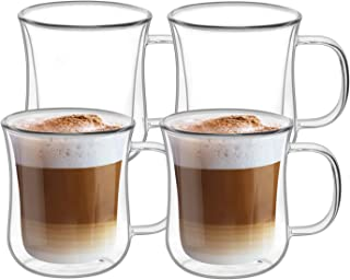 ComSaf Double Walled Glass Coffee Mugs (6oz/180ml), Thermal Insulated Borosilicate Glass Cups with Handle for Tea, Coffee,...