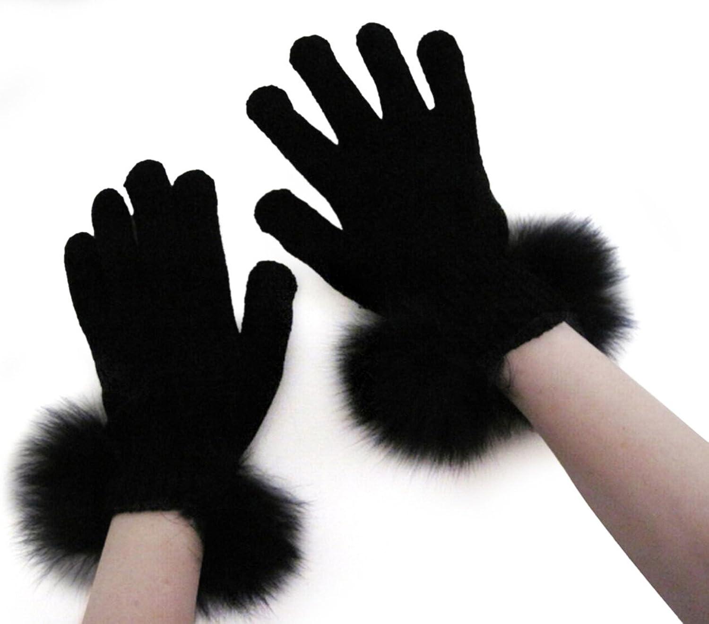FursNewYork Women's Black Stretch Chenille Gloves with Fox Fur Trim
