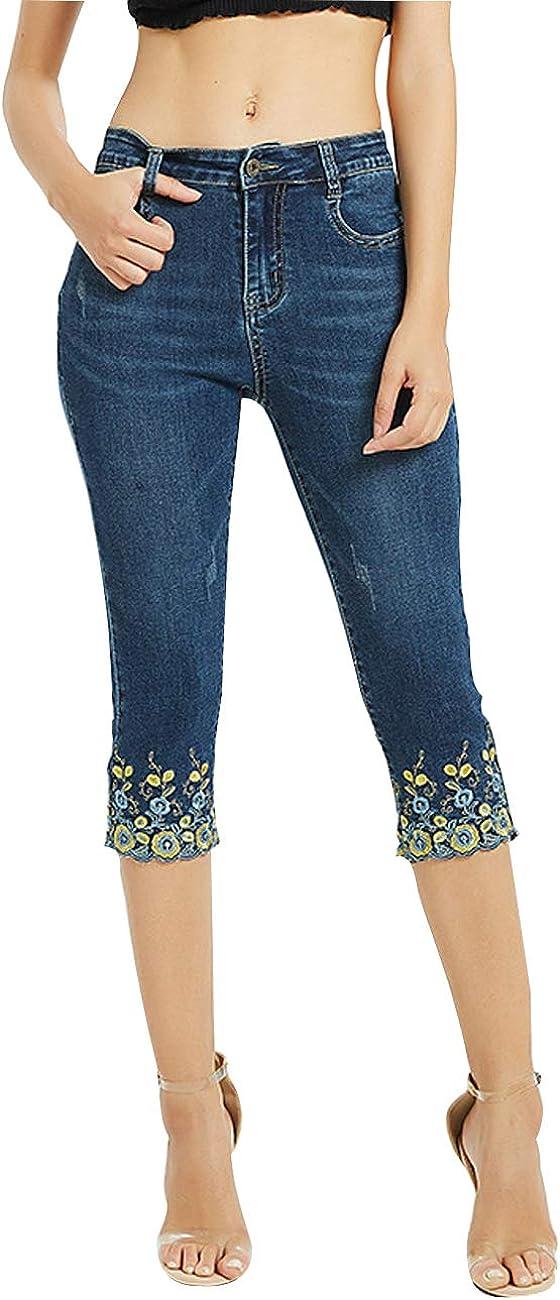 ZENTHACE Women's Mid Rise Stretchy Capri Jeans