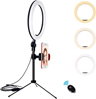 YMCRLUX Desk Ring Light with Stand and Phone Holder for Laptop, Computer, 10 Inch Desktop Ring Light for Webcam, Zoom Meet...