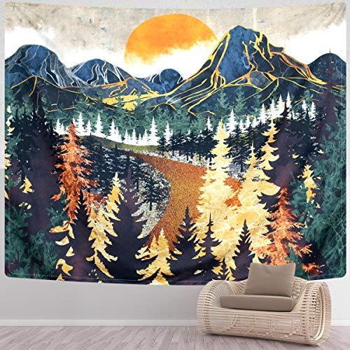 SENYYI Wandbehang mit Waldbäumen und Sonnenuntergang, Wandteppich, Wandteppich, Straße in der Natur, Heimdekoration für Zimmer (150 x 210 cm)