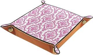 Boîte de rangement en cuir PU carré plateau pour les jeux de table de dés de jeux de clés porte-monnaie de bureau boîte de...