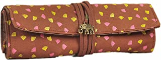 Roll Pencil Bag Creative Stationery Portable Canvas Rolling Shutter Stationery Bag Simple Cute Roll Pen Bag(Brown)