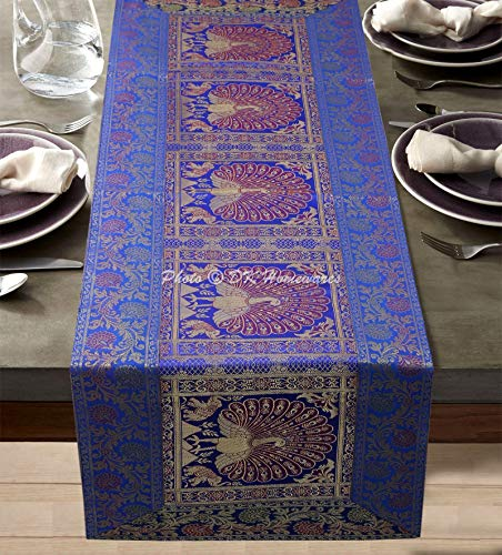 DK Homewares Traditionelles Blau Brokat 60 X 16 Zoll Tischdecke Esszimmer Dekor Jacquard Tanzen Pfau Blumen- 5 Ft Rechteckig Tischläufer (150 X 40 cm/Blau Gold)