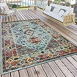 Paco Home Alfombra de Exterior, Turquesa, Azul, Balcón, Terraza, Diseño Oriental Vintage Soft, tamaño:Ø 160 cm Redondo