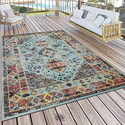 Paco Home Outdoor Teppich Türkis Blau Balkon Terrasse orientalisches Design Vintage Weich, Grösse:160x220 cm