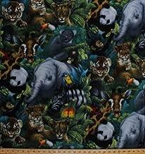 Fleece A Rare Occasion Baby Animals Jungle Safari Elephants Giraffes Pandas Tigers Cheetahs Animal Fleece Fabric Print by the Yard kal-2016-3a-1