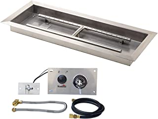 Stanbroil 36 inch Rectangular Drop-In Fire Pit Pan with Spark Ignition Kit Natural Gas Version
