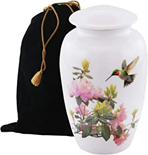 Eternitymart's Serenity Painted Cremation Urn - Affordable Metal Urn - Hand Painted Solid Metal Urn for Ashes, Adult Cremation Urn with Free Velvet Bag (Hummingbird)