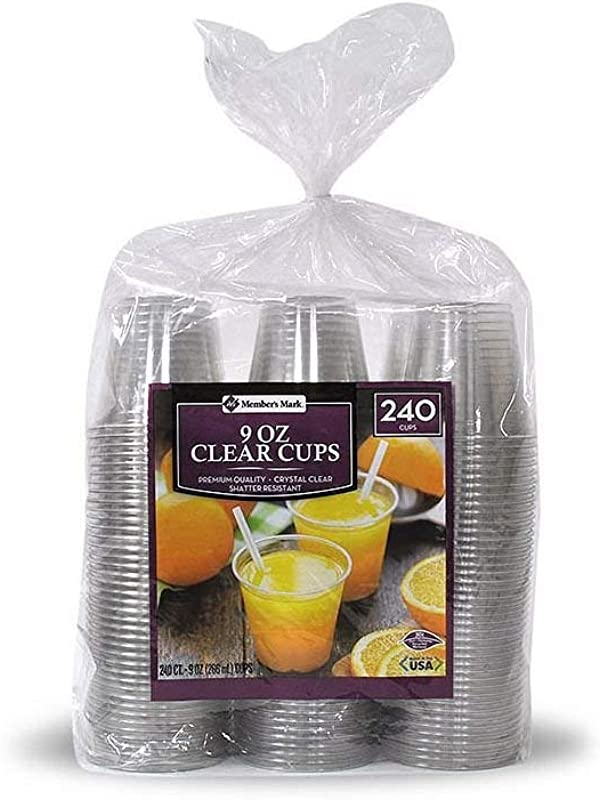 Member S Mark Clear Plastic Cups 9 Oz Cups 240 Ct