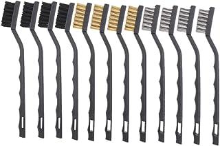 JZK 12x mini-draadborstel set (4x zwart + 4x goud + 4x grijs), metalen messing nylon borstel, las roest, stof en slakken, ...