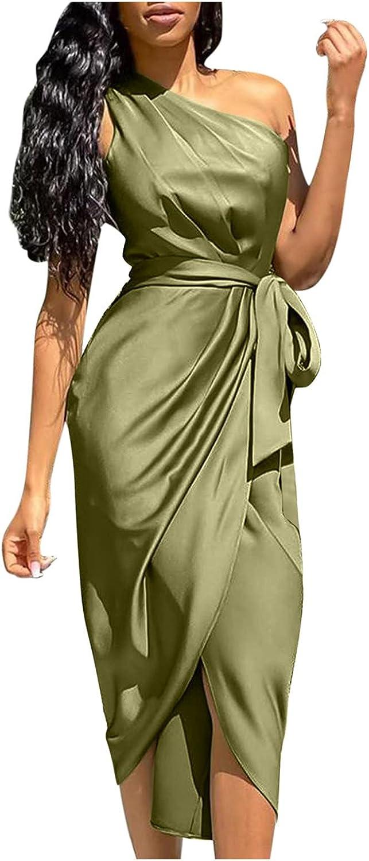 Jumaocio Women's Evening Gowns Dresses,Sexy Solid One Shoulder Ruched Slit Dress Sleeveless Belt Slim Formal Dress