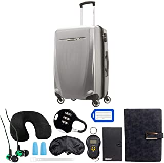 Samsonite Winfield 3 DLX Spinner 71/25 Checked Luggage, Silver (120753-1776) with Deco Gear 10 Piece Luggage Accessory Ult...