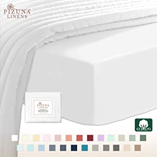 Pizuna 400 Thread Count Cotton Fitted-Sheet-Queen Size white 1pc, 100% Long Staple Cotton White Queen Bed Sheets Soft Sateen Queen Sheet Deep-Pockets Fitted Sheet fits upto 15 inch (White Queen Sheet)