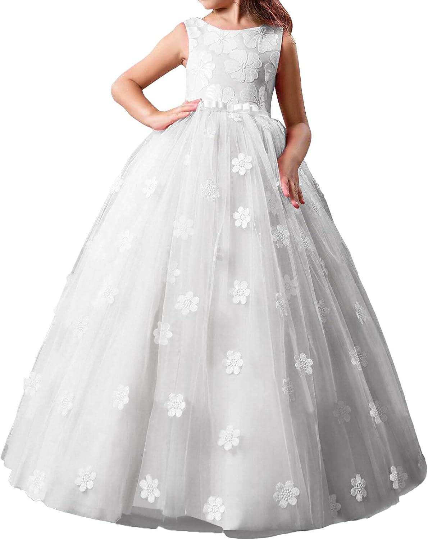 CHICTRY Girls Elegant Sleeveless V Back Long Flower Dress for Wedding Birthday Party