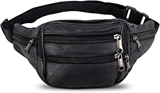 Cowhide Leather Large Size 7 Pockets Fanny Pack, Waist Pack with Adjustable Strap for Outdoors Workout Traveling Casual Running Hiking Cycling