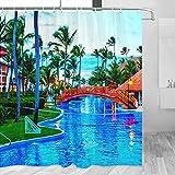 República Dominicana Cortina de Ducha Viaje Decoración de Baño Set Con Ganchos Poliéster 72x72inch (YL-01571)