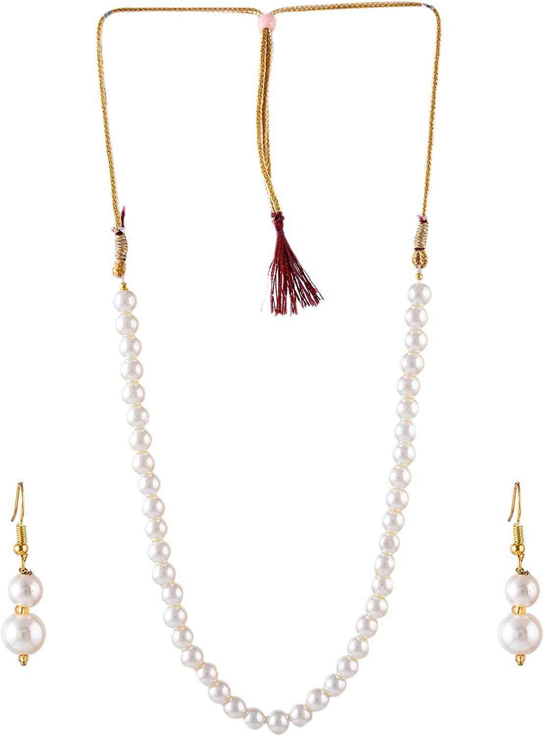 Saissa White Imitation Pearls Single Line Indian Necklace Earrings Jewelry Set for Girls and Women
