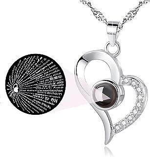 Te Amo Collar Personalizado, Colgante de 100 Idiomas de Amor de Corazón Collar con Memoria de Amor para Mujer Regalo