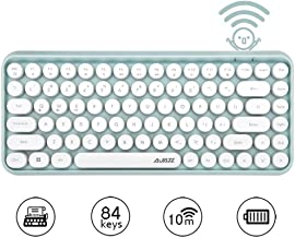 FELiCON Wireless Bluetooth Keyboard Mini Portable 84-Key Keyboard Compatible with Android, Windows, PC, Tablet-Dark, Perfer for Home and Office Keyboards (308i-green)