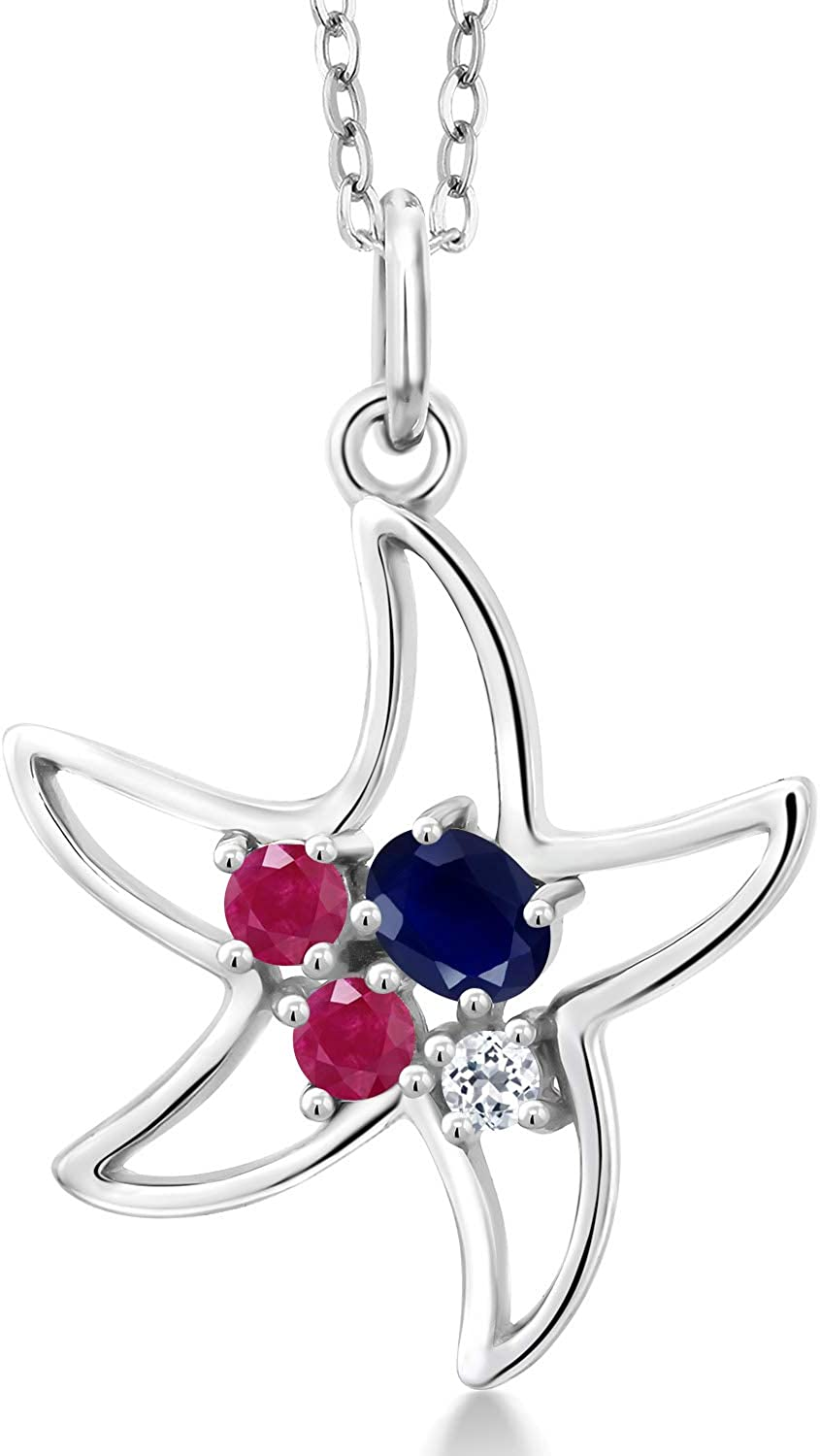 Gem Stone King 925 Sterling Silver Red Blue Ranking TOP3 Sapphire and Max 88% OFF Ruby St