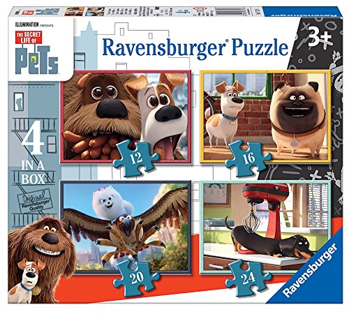 """Ravensburger 7139""""The Secret Life of Pets"""", 4Puzzle in Einer Box,12, 16, 20, 24Teile"""